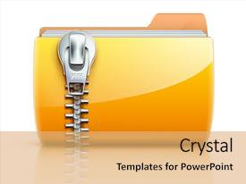 Yellow Computer Folder Zipper Powerpoint Templates W Yellow
