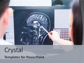 Presentation theme featuring ct scan - image mri of the brain background and a light gray colored foreground.