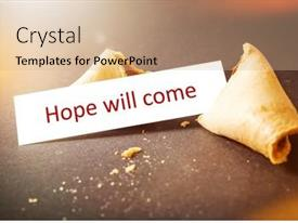 Colorful PPT theme enhanced with image-of-a-fortune-cookie backdrop and a coral colored foreground