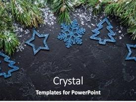 Audience pleasing presentation theme consisting of image of branches of spruce blue christmas decorations toys on black background backdrop and a dark gray colored foreground