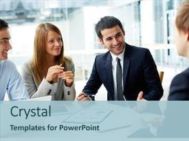 PPT layouts with image of business partners discussing background and a light blue colored foreground