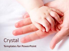 Amazing slides having image of newborn baby hand backdrop and a lemonade colored foreground.