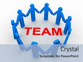 Presentation theme having image of team concept background and a light blue colored foreground.