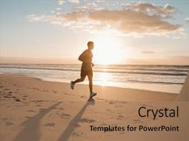 Slide deck enhanced with image of young runner running background and a coral colored foreground.