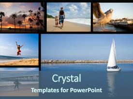 Presentation theme enhanced with images with holiday travel theme background and a ocean colored foreground.