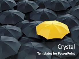 Presentation consisting of individual differences - unique yellow umbrella among many background and a dark gray colored foreground.