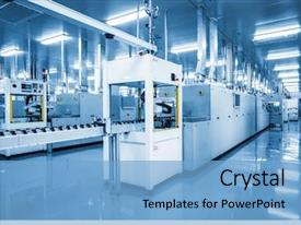 PPT theme featuring industrial - industry technology borough of industry background and a light blue colored foreground