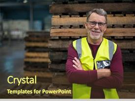 PPT layouts enhanced with industrial - portrait of male factory worker background and a tawny brown colored foreground