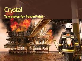 PPT theme with industrial - fire fighter on oil background and a tawny brown colored foreground.
