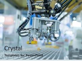Cool new slide deck with industrial robot with conveyor backdrop and a light blue colored foreground