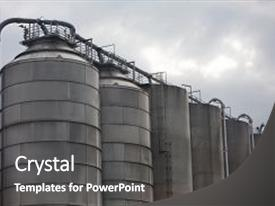 PPT theme featuring industrial site of the chemical background and a dark gray colored foreground.