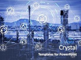 Slides enhanced with industry 4 0 concept image industrial instruments in the factory with cyber and physical system icons internet of things network smart factory solution background and a ocean colored foreground.