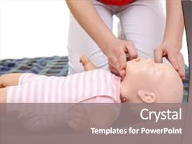 Presentation theme having infant dummy first aid demonstration background and a gray colored foreground.