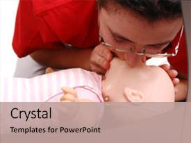 Presentation design having infant dummy first aid demonstration background and a coral colored foreground.