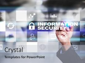 Audience pleasing presentation theme consisting of information security and data protection backdrop and a light gray colored foreground.