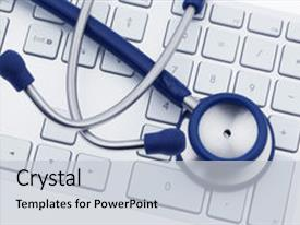 Amazing presentation design having information technology - stethoscope is backdrop and a light gray colored foreground.