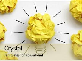 Presentation consisting of innovation - inspiration concept crumpled paper light background and a yellow colored foreground