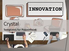 Cool new presentation theme with innovation technology be creative futuristic backdrop and a light gray colored foreground