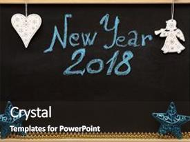 beautiful presentation theme featuring inscription new year 2018 written by blue chalk on decorated school blackboard