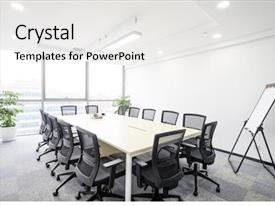 PPT theme consisting of interior of meeting room background and a white colored foreground