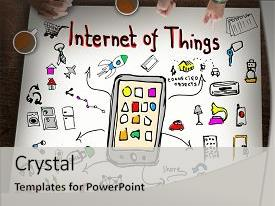 Audience pleasing theme consisting of internet of things business concept backdrop and a light gray colored foreground.