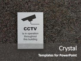 Beautiful presentation theme featuring police - intrusion prevention - cctv sign backdrop and a dark gray colored foreground.