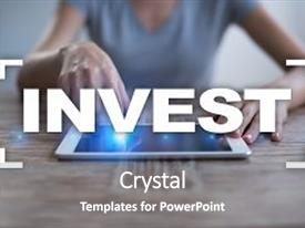 Presentation theme having invest return on investment financial background and a gray colored foreground.