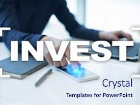 Presentation theme having invest return on investment financial growth technology and business concept background and a sky blue colored foreground.