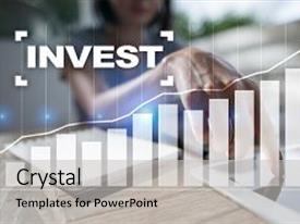 Colorful slide deck enhanced with invest return on investment financial backdrop and a light gray colored foreground.
