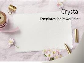Presentation theme featuring invitation - bright feminine spring stationery mockup background and a light gray colored foreground