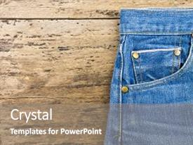 Beautiful PPT theme featuring blue - jeans on brown wooden background backdrop and a gray colored foreground.