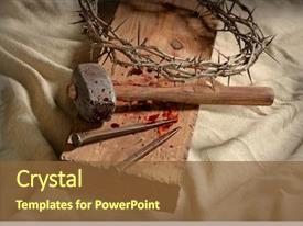 Presentation design featuring jesus - crown of thorns nails background and a tawny brown colored foreground