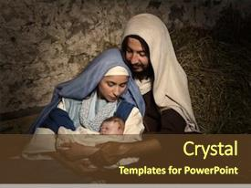 Colorful presentation design enhanced with jesus - live christmas nativity scene backdrop and a tawny brown colored foreground