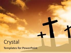 Presentation theme consisting of jesus - three crosses on a hill background and a yellow colored foreground