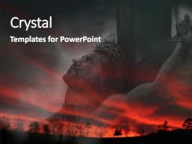 Presentation design featuring jesus against blood colored sunset background and a dark gray colored foreground.