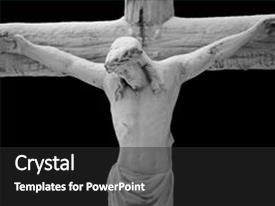Presentation enhanced with jesus christ on the cross background and a dark gray colored foreground.