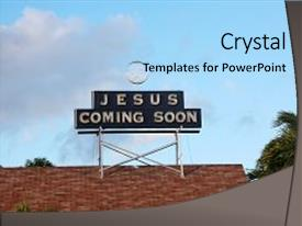 PPT theme with jesus coming soon jesus coming background and a light blue colored foreground.