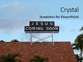 Cool new slides with jesus coming soon jesus coming backdrop and a light blue colored foreground.