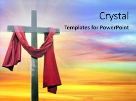 Theme enhanced with jesus risen - cross with a wonderful setting background and a  colored foreground.