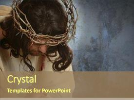 Cool new slide deck with jesus with crown of thorns backdrop and a coral colored foreground