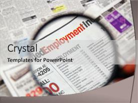 Colorful presentation enhanced with job search - magnifying glass over a newspaper backdrop and a light gray colored foreground.