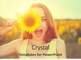 Beautiful slide set featuring joyful teenage girl with sun backdrop and a yellow colored foreground