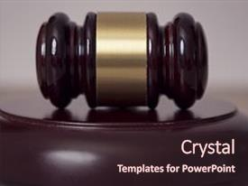 Amazing PPT theme having law - judge gavel in a courtroom backdrop and a wine colored foreground.