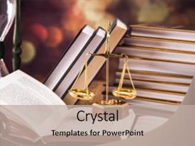 Beautiful presentation theme featuring juridical - mallet legal code and scales backdrop and a mint green colored foreground.