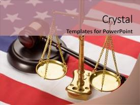 PPT layouts with crime usa - justice scale and wooden brown background and a coral colored foreground.