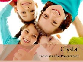 Theme with kids - photo of joyful children touching background and a coral colored foreground