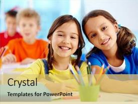 Slide deck with kids - portrait of two diligent girls background and a yellow colored foreground
