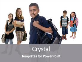 Amazing presentation having kids are ready for school backdrop and a gray colored foreground.