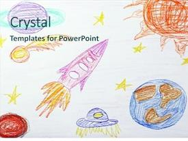 Cool new presentation design with kids drawing on white sheet backdrop and a cool aqua colored foreground