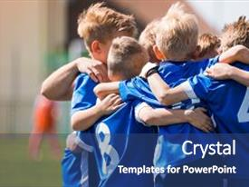 PPT layouts featuring kids play sports children sports team united ready to play game children team sport youth sports for children boys in sports uniforms young boys in soccer sportswear background and a ocean colored foreground.